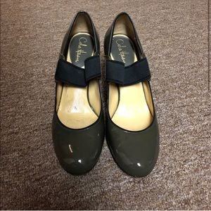 Cole Haan Olive Green Black Strap Chunky Heels